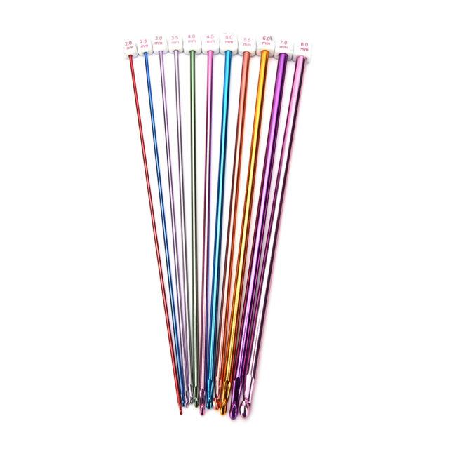 "11X 10.6"" multicolour Aluminum TUNISIAN / AFGHAN Crochet Hooks Needles 2- 8mm Kw"