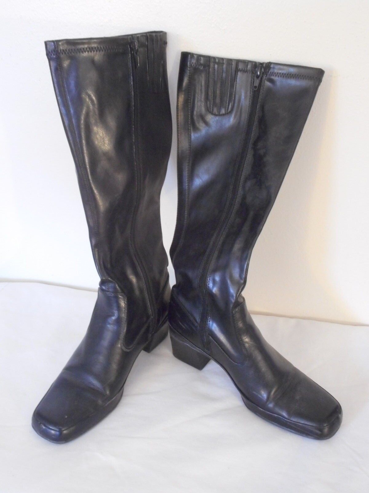 Black Faux Leather Calf High 2 inch heel Boot Size 6.5