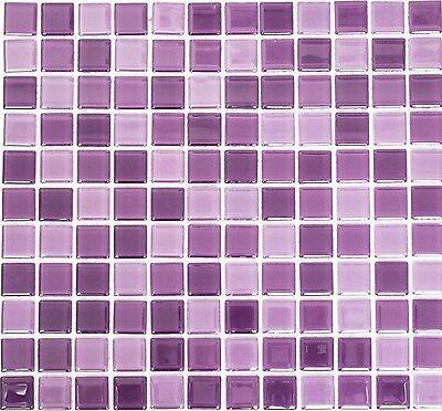 Mosaico piastrella vetro porpora miscela muro cucina bagno 62 1104 b 1 foglio ebay - Mosaico vetro bagno ...