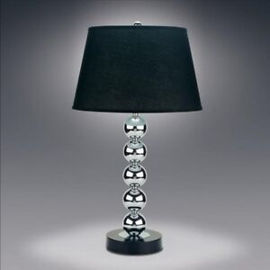 Image Is Loading Metal Chrome Stacked Ball Table Lamp Lamps With