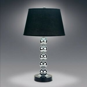 chrome stacked ball table lamp lamps with black shade 29 034 cm6288t. Black Bedroom Furniture Sets. Home Design Ideas