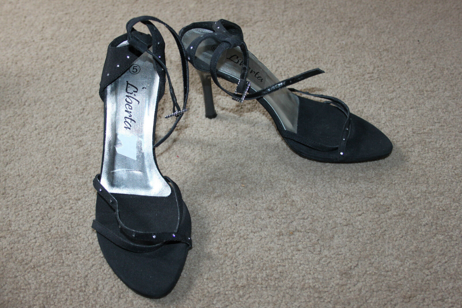 Ladies Black Diamante Strappy Shoes Evening Sie 5 by Liberta Evening Shoes Party 21f6c8