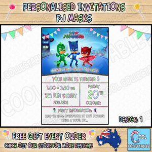 Image Is Loading PJ MASKS Personalised Birthday Party Invitations Invites
