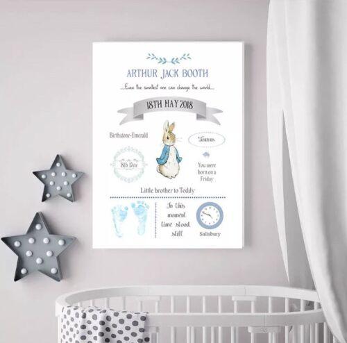 Beautiful Peter Rabbit Nursery Decor A3 Canvas Baby Girl Baby Boy Christening
