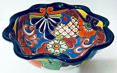 Mexican Talavera Pottery Wavy Salad Bowl Deep Dish Serving Folk Art Ebay