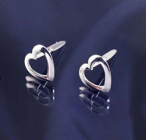 Sterling Silver 925 Open Design Heart Andralok Studs Earrings.