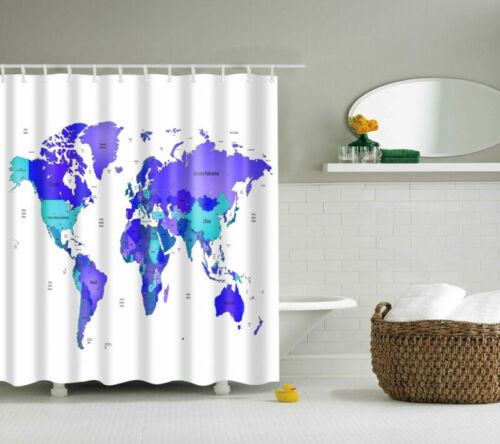 Purple Map Printing Polyester Waterproof Bathroom Fabric Shower Curtain 12 Hook