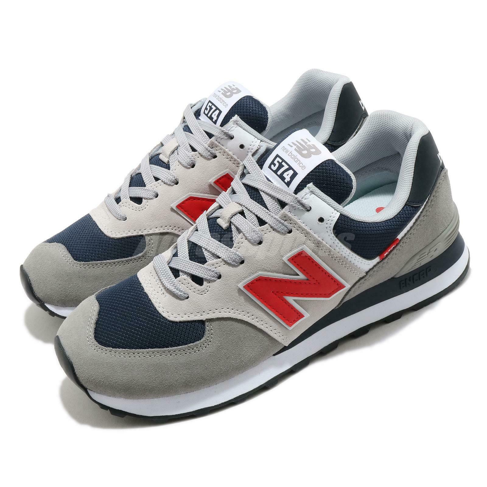 New Balance 574 Grey Red Navy White Men Casual Lifestyle Shoe Sneaker ML574SO2 D