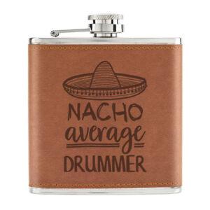 Nacho-Moyenne-Batteur-170ml-Cuir-PU-Hip-Flasque-Fauve-Best-Musique-Drole-Awesome