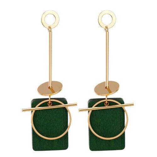 Unique Geometric Long Tassel Drop Earring Women Wood Dangle Earring Jewelry Gift