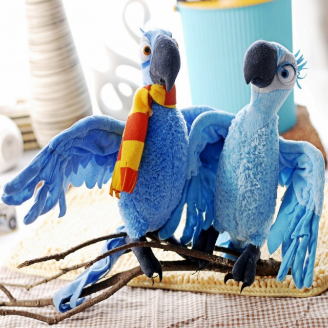 Set Of 2pcs Rio 2 Movie 10 25cm Macaw Blue Jewel Soft Plush Birds Doll
