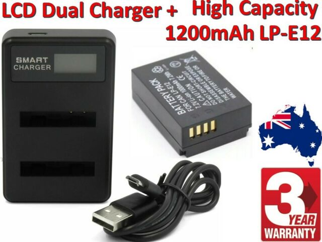 LP-E12 battery + LCD USB Dual Battery Charger for Canon EOS M10 M50 M100 AUSSIE