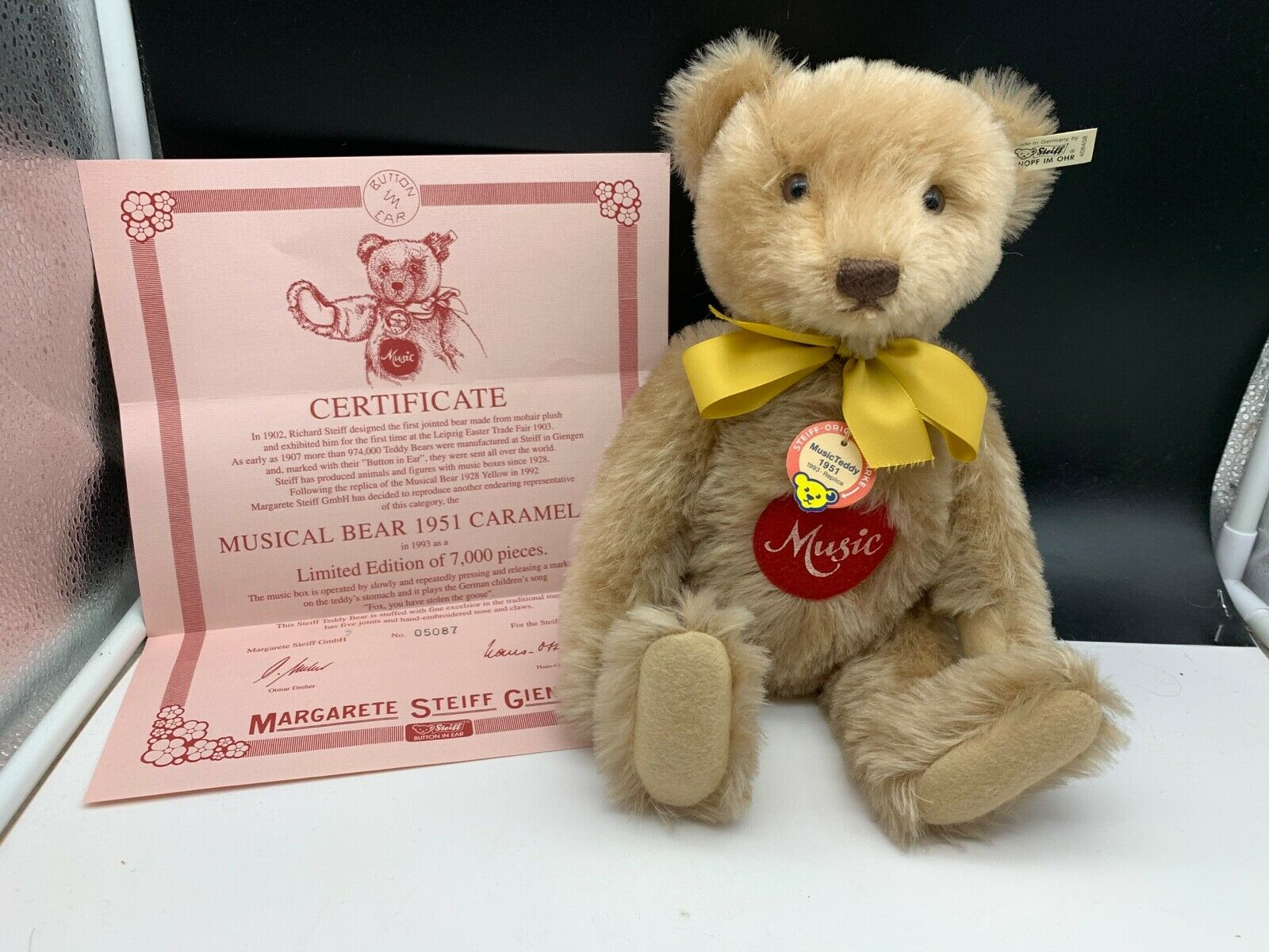 Steiff Animal 408458 Music Teddy Bear 35 Cm. Top Condition