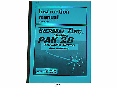 Thermal Dynamics PAK 20 Plasma Cutter Instruction Manual 978 EBay