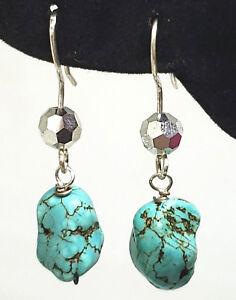 American-Turquoise-Nugget-Czech-Crystal-Sterling-Silver-Dangle-Handmade-Earrings