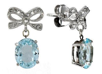 Romantische Ohrringe Schleifen Sterlingsilber Blautopas