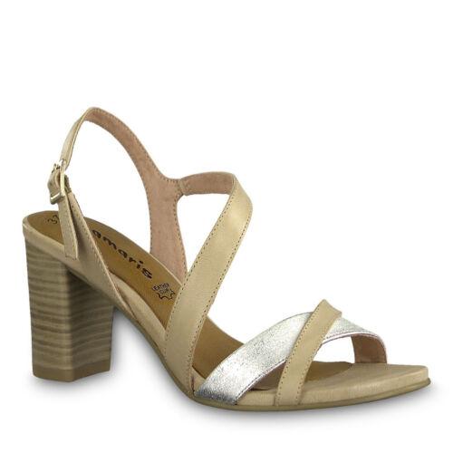 Tamaris 1-1-28016-20 486 Schuhe Sandalen Sandaletten shell beige silber platinum