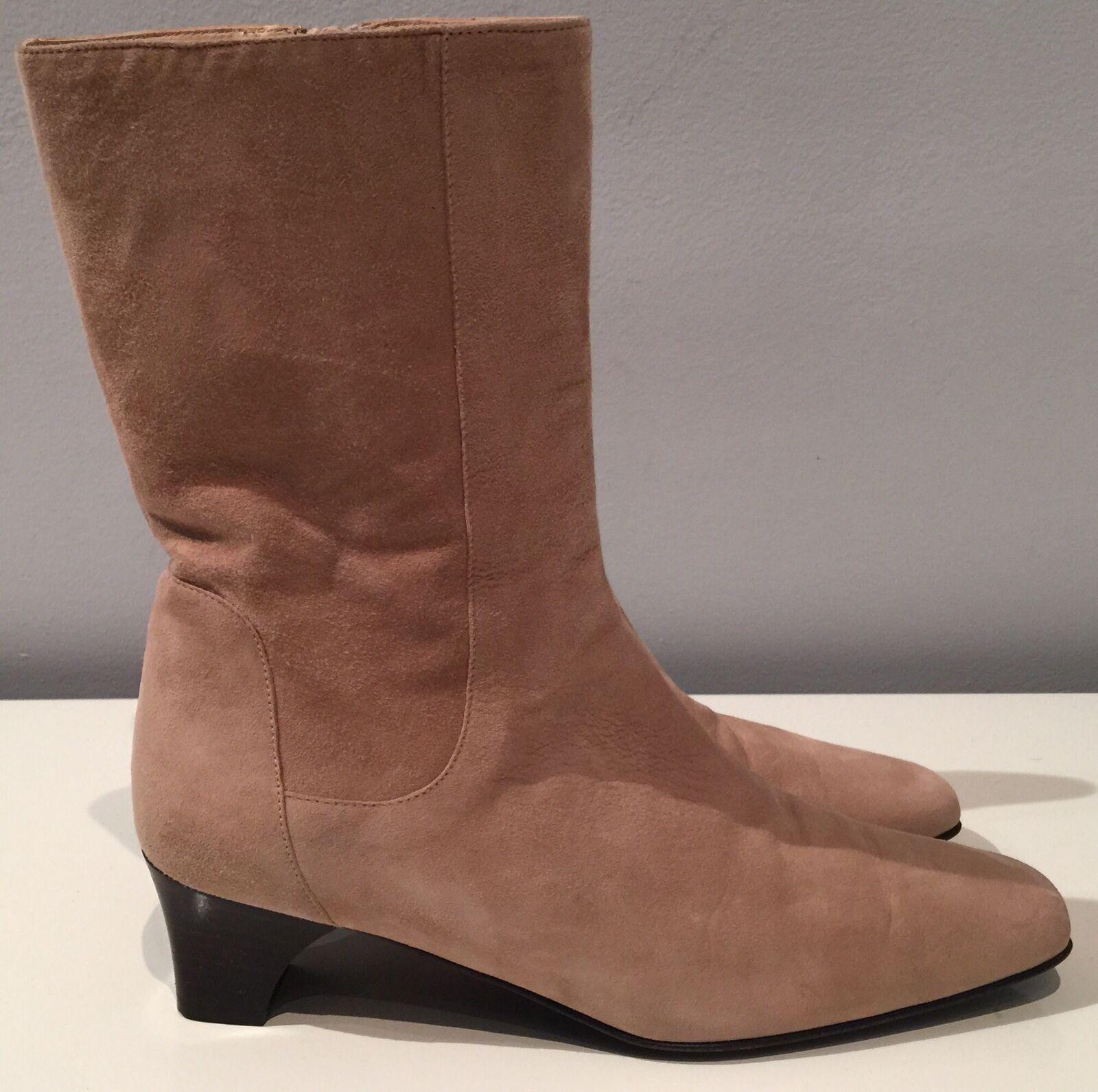 Authentic Cole Haan made in  beige suede boots chunky kitten heel 6.5 C