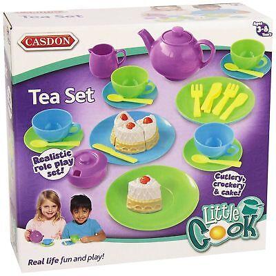 32Pc Childrens Tea Set Plates Teapot Kitchen Cutlery Realistic Role Play Plastic