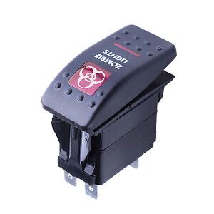5pcs 12V 20A Bar 4P Push Rocker Toggle Switch Blue LED Light Waterproof Car Boat