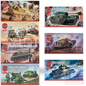 Airfix-Vintage-Classics-WW2-1-76-Model-Kits-Bren-Panther-Stug-Sherman-Panzer