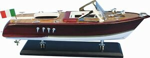 Holz-Modellboot-Italienisches-Motorboot-Groesse-35-x-11-x-13-cm-Boot-Modell