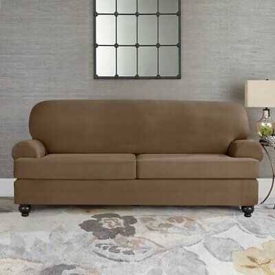 Sure Fit Suede Taupe Individual Cushion Sofa Slipcover 2 cushion style t or  box | eBay