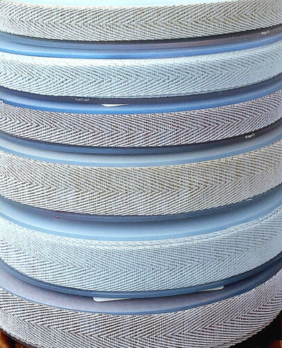 15 10mm SOFT HERRINGBONE RIBBON TAPE WITH METALLIC  ROSE  GOLD  SILVER  SPARKLE