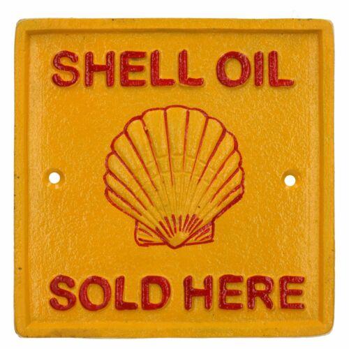 Shell Oil vendidos aquí Cuadrado castiron Signo Placa Pared Garaje Taller de gasolina de combustible