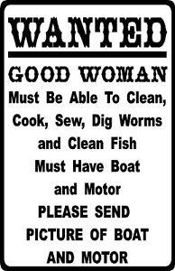 """Drôle de pêche HUMOUR /""""J/' ai une nouvelle canne à pêche pour mon mari/"""" Métal Signe Plaque"""