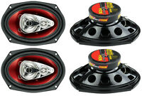 4) Boss Chaos Ch6940 6x9 500w 4-way Car Coaxial Audio Stereo Speakers Red on sale