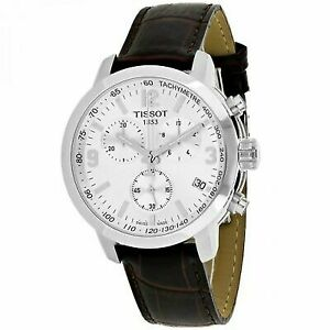05e3d1ab4ab Tissot PRC 200 Chronograph Silver Dial Brown Leather Men's Watch Item No.  T0554171603700