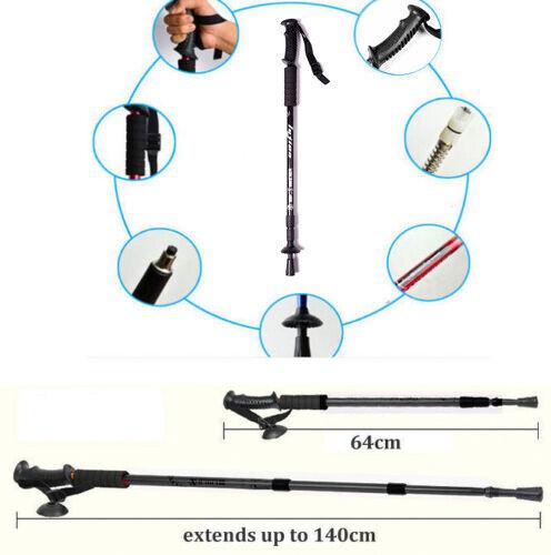 2x 4x Lightweight Hiking Trekking Poles Walking Stick Anti Shock Adjustable New