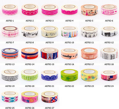 Cute Vintage Craft DIY Washi Tape 15mm x 10m Deco Party Scrapbooking Gift  A0792