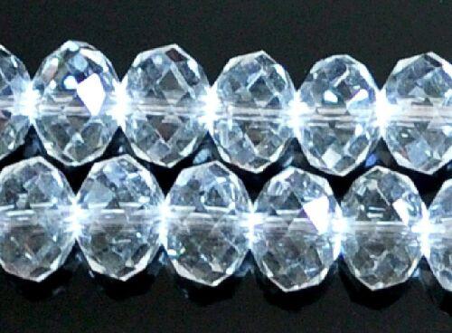 50pcs Brillant Plat blanc rond Blotter Crystal Loose Beads 6x4mm
