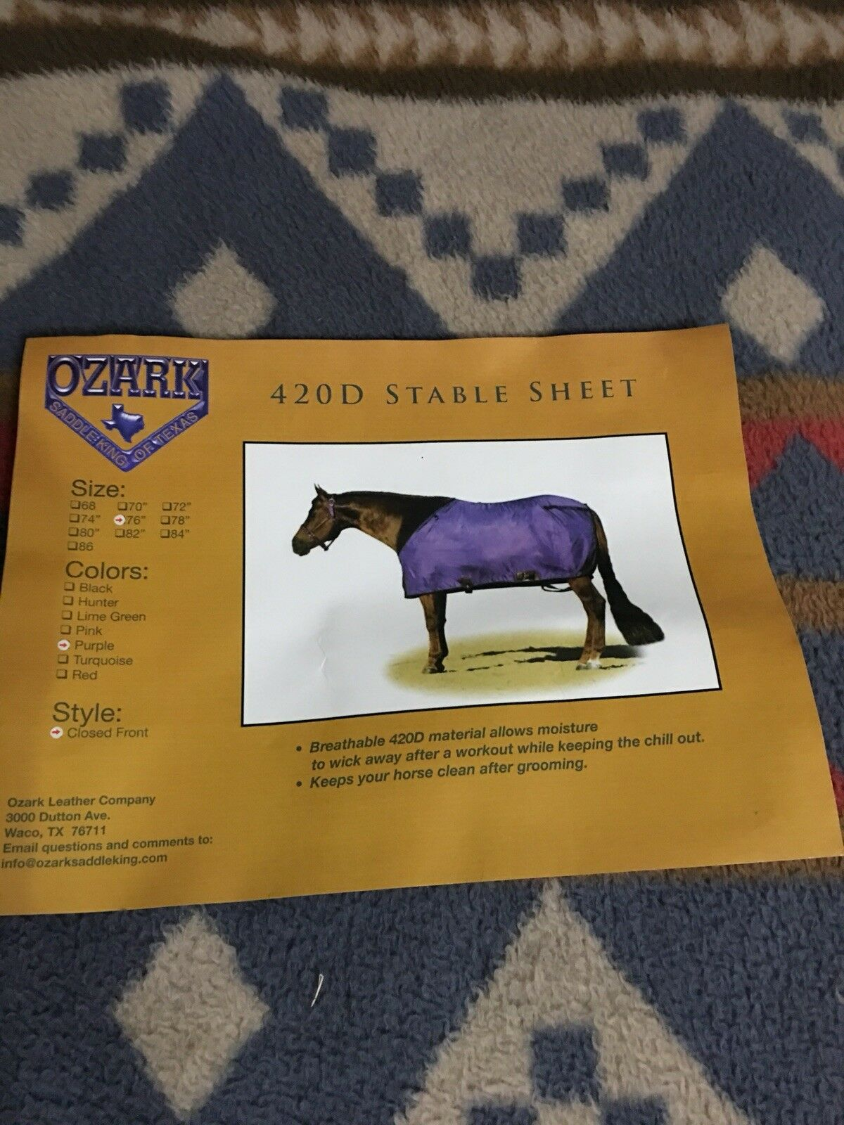 New Ozark Leather Nylon Summer  Sheet Sz 74 Closed Front Leg Straps  Purple  big discount prices
