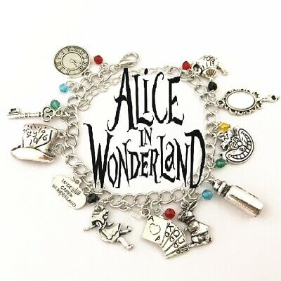 ALICE IN WONDERLAND CHARM BRACELET Disney cheshire cat Drink me Mad Hatter UK