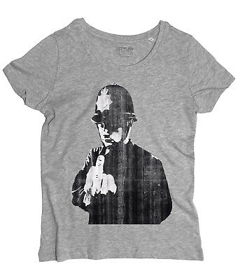 T-shirt donna BANKSY BOBBIES KISS poliziotti bacio street art Londra bobbie