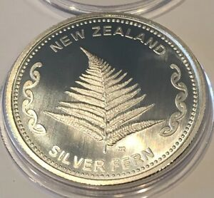 New Zealand Silver Fern Aotearoa Collectible Coin 1 Troy Oz .999 Fine Rare Round