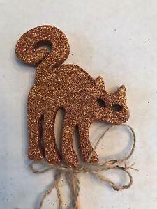 "13/"" HALLOWEEN GLITTERED CAT FLORAL SUPPLY PICK WREATH ARRANGEMENT TREE DECOR NEW"