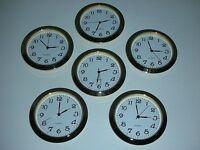 6 Pack, 2-1/8(55mm) Premium Quartz Clock Insert, Gold Bezel, Metal Case, Arabic