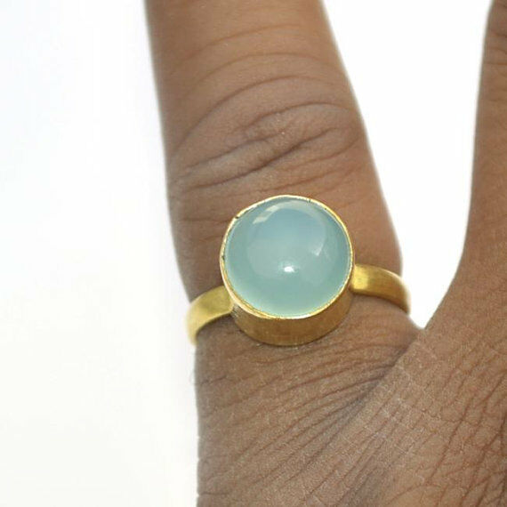 Natural Round Cab Aqua Chalcedony Gemstone 14K Yellow gold Wedding Ring Size 8