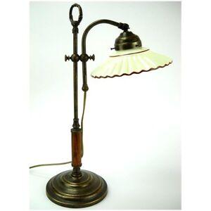 Dettagli su Lampada da tavolo in ottone con piatto in ceramica