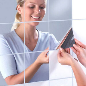 Espejo-de-Pared-Decorativo-Autoadhesivo-Mosaico-16-Espejos-Pegatinas-15x15-Nuevo