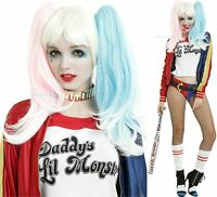 Harley Quinn Suicide Squad Blonde Wig With Attachable Pink & Blue Pony Tails