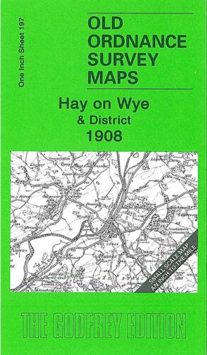 OLD ORDNANCE SURVEY MAP HAY ON WYE 1908 BREDWARDINE CUSOP CRICKADARN KINGTON