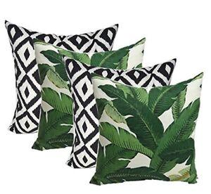 Set Of 4 Decorative Throw Pillows Swaying Palms Green Leaf Black White Geometric Ebay