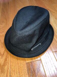 0e4ff40bca2 Peter Grimm Fedora Hat Black White Pinstripe 100 % Cotton Size Small ...