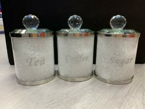 CRYSTAL-FILLED-TEA-COFFEE-SUGAR-CANISTERS-JARS-STORAGE-SILVER-GOLD-TRIMMINGS