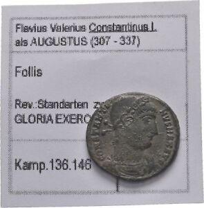 Impartial Ancient Rome Ad307-337 Constantinus I Thessalonica Follis Gloria Exercitvs Smtsa Coins: Ancient